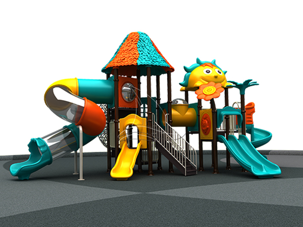 Kids play outdoor playground equipment