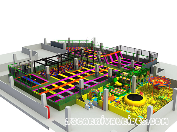 Trampoline park with indoor playground