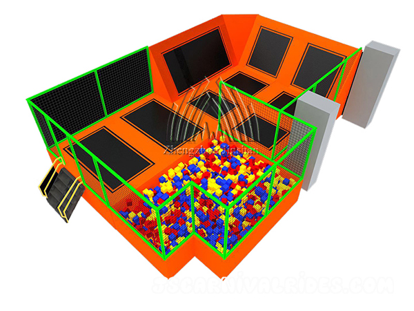 Simple design indoor trampoline park with foam pit