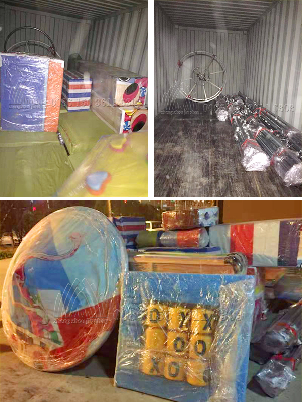 Load and deliver indoor soft playground to Romania